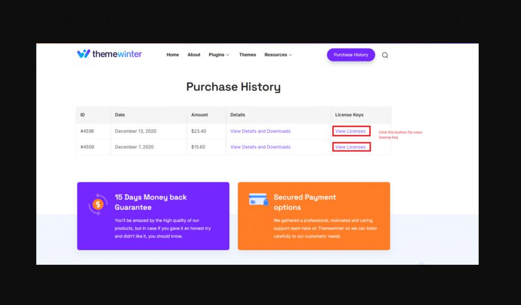 Themewinter Customer Dashboard